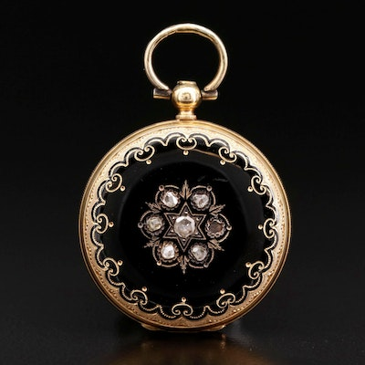 Antique Swiss 18K Gold and Enamel Hunting Case Pocket Watch with Diamonds