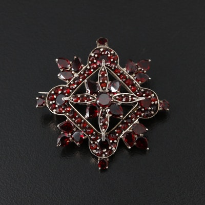 Victorian Bohemian Style Garnet Brooch