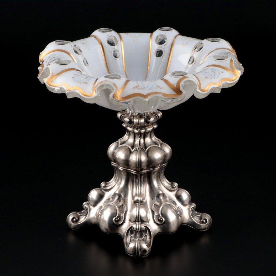 Victorian Sterling Silver and Cased Glass Compote, 19th Century