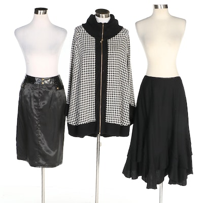 J. Peterman Houndstooth Poncho and Black Skirts