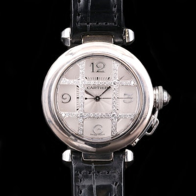 Cartier Pasha 18K White Gold With Diamond Grill Automatic Wristwatch