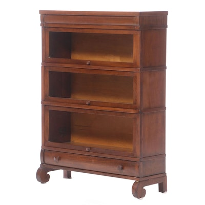 The Globe-Wernicke Co. Mahogany Three-Stack Barrister's Bookcase with Drawer