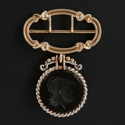 Antique 14K Sash Buckle with Chalcedony Intaglio Drop