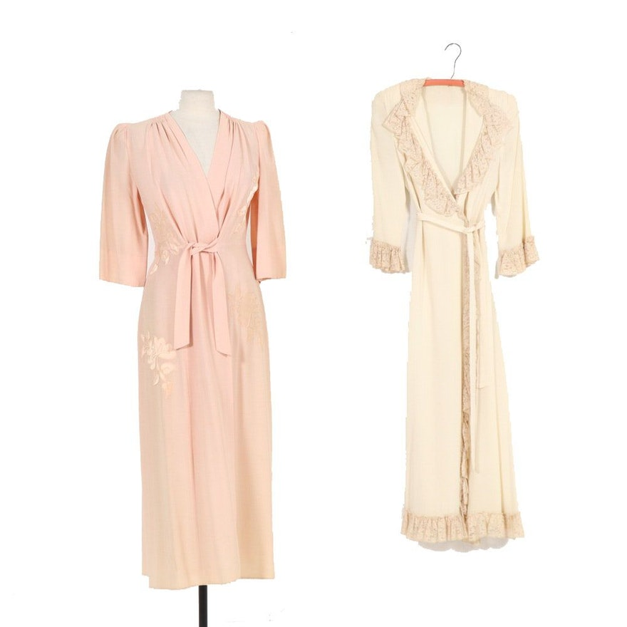 Saybury Appliqué Peach Dress with Lace Ruffle Housecoat, Vintage
