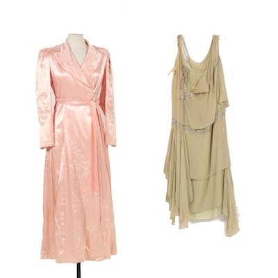 Satin Quilted Embroidery Robe and Art Deco Silk and Rhinestone Dress, Vintage