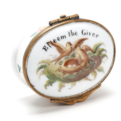 "Bilston & Battersea Style ""Esteem the Giver"" Enameled Patch Box"