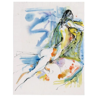 Hendrik Grise Expressionist Watercolor Painting of Nude Figure