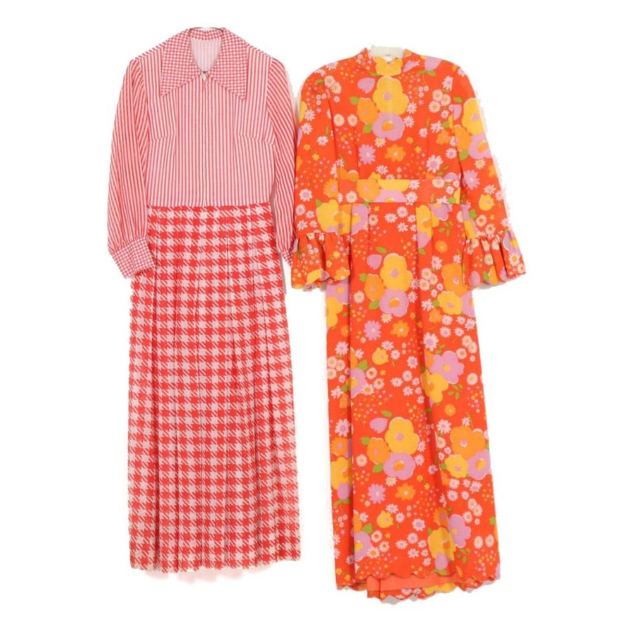 Floral Print Maxi Dress and Contrasting Print Zipper-Front Dress, 1970s Vintage