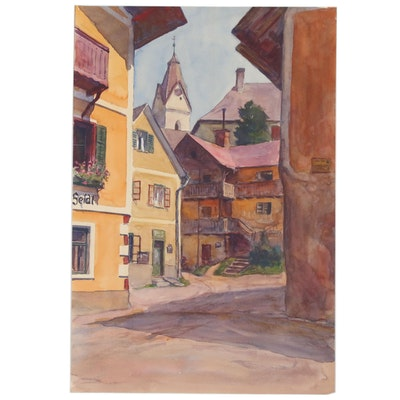 Attributed to Paul Robert Passini Street Scene Watercolor Painting