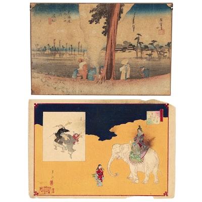 Utagawa Hiroshige and Ogata Gekkō Ukiyo-e Woodblocks, 19th Century