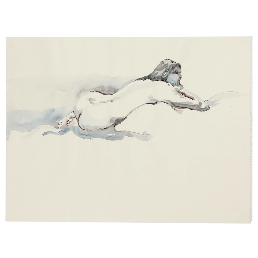 Ink Wash Figure Painting of Reclining Nude