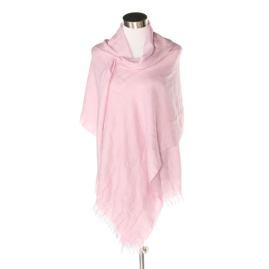 Chanel Large Fringed Shawl Wrap in Pink Cashmere and Silk