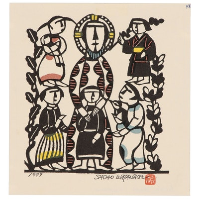 "Woodblock after Sadao Watanabe ""Christ and Children"""