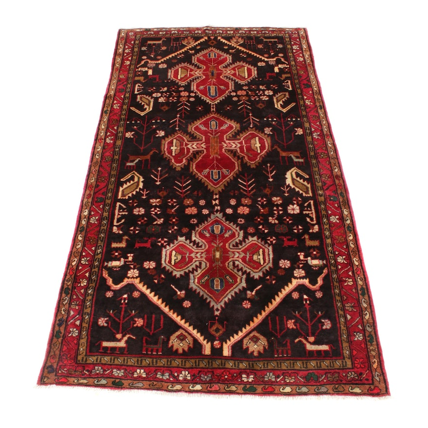 5'0 x 9'11 Hand-Knotted Northwest Persian Pictorial Rug, 1970s