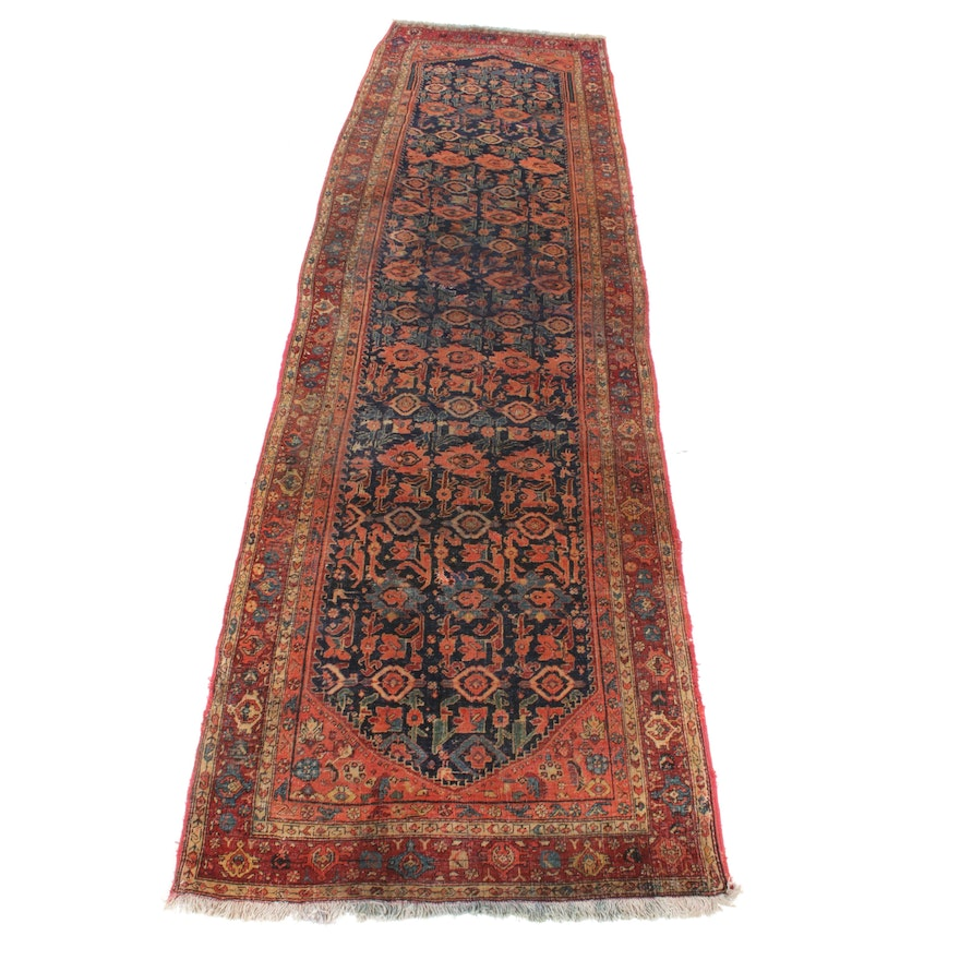 4'2 x 14'0 Hand-Knotted Persian Bijar Wide Runner, 1920s