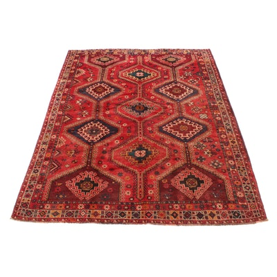 7'1 x 9'1 Hand-Knotted Persian Qashqai Shiraz Rug, 1960s