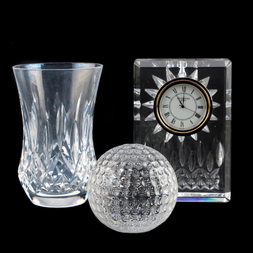 "Waterford Crystal ""Lismore"" Vase and Clock with Golfball Paperweight"