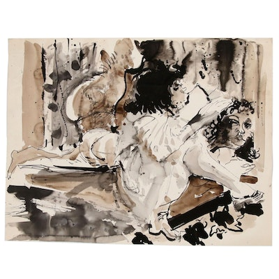 Hendrik Grise Ink and Watercolor Figural Painting