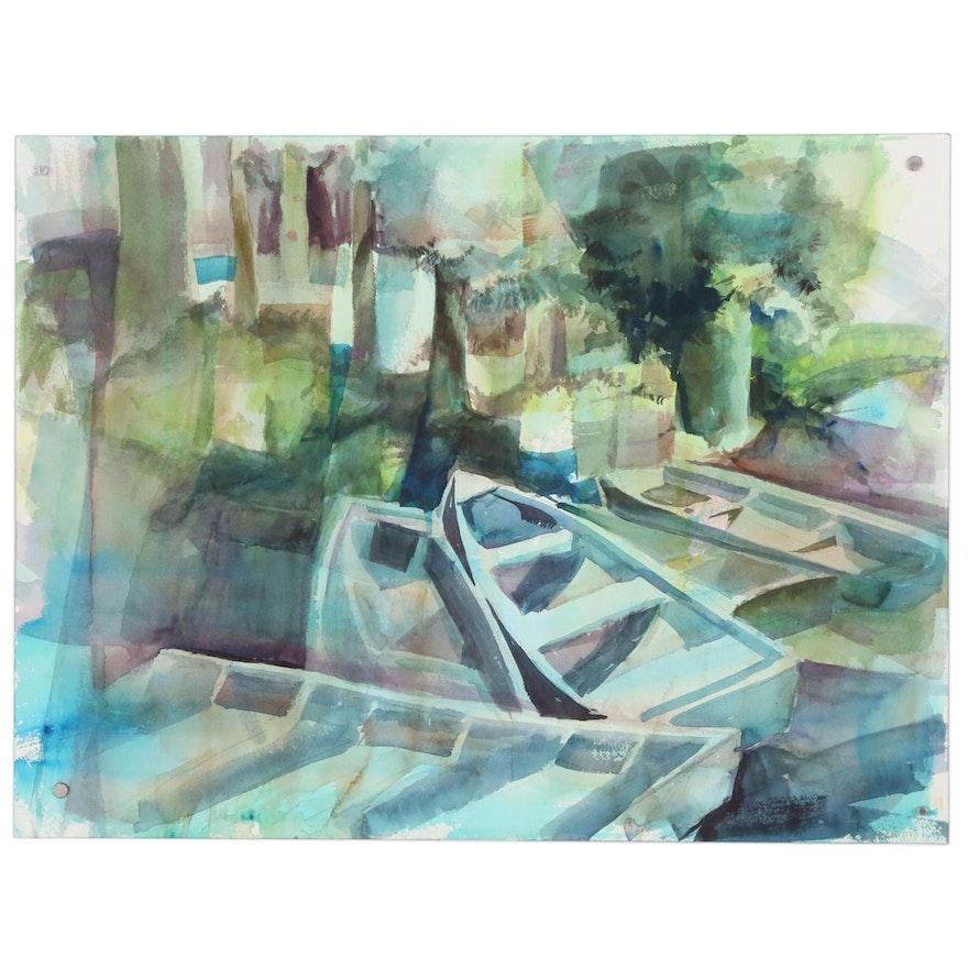 E. Augustin Dock Scene Watercolor Painting