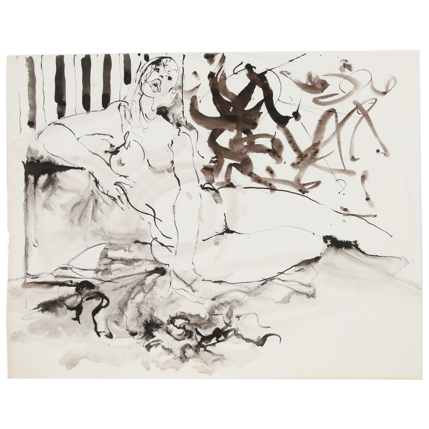 Hendrik Grise Nude Figure Ink Painting