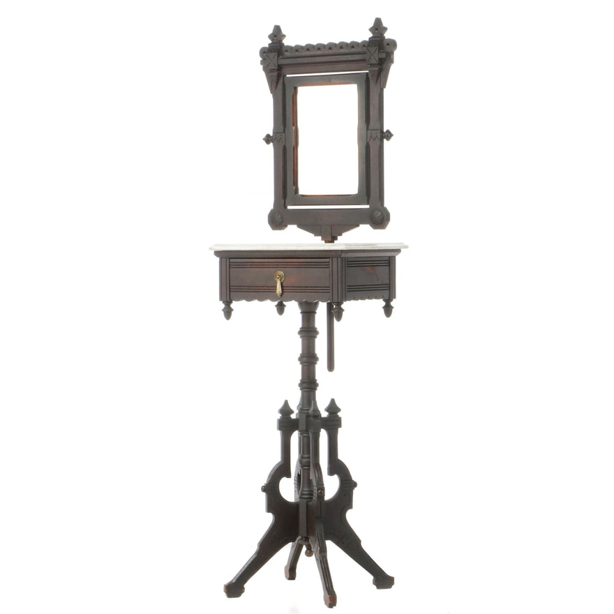 Victorian Ebonized Walnut and White Marble Dressing Stand, Late 19th Century