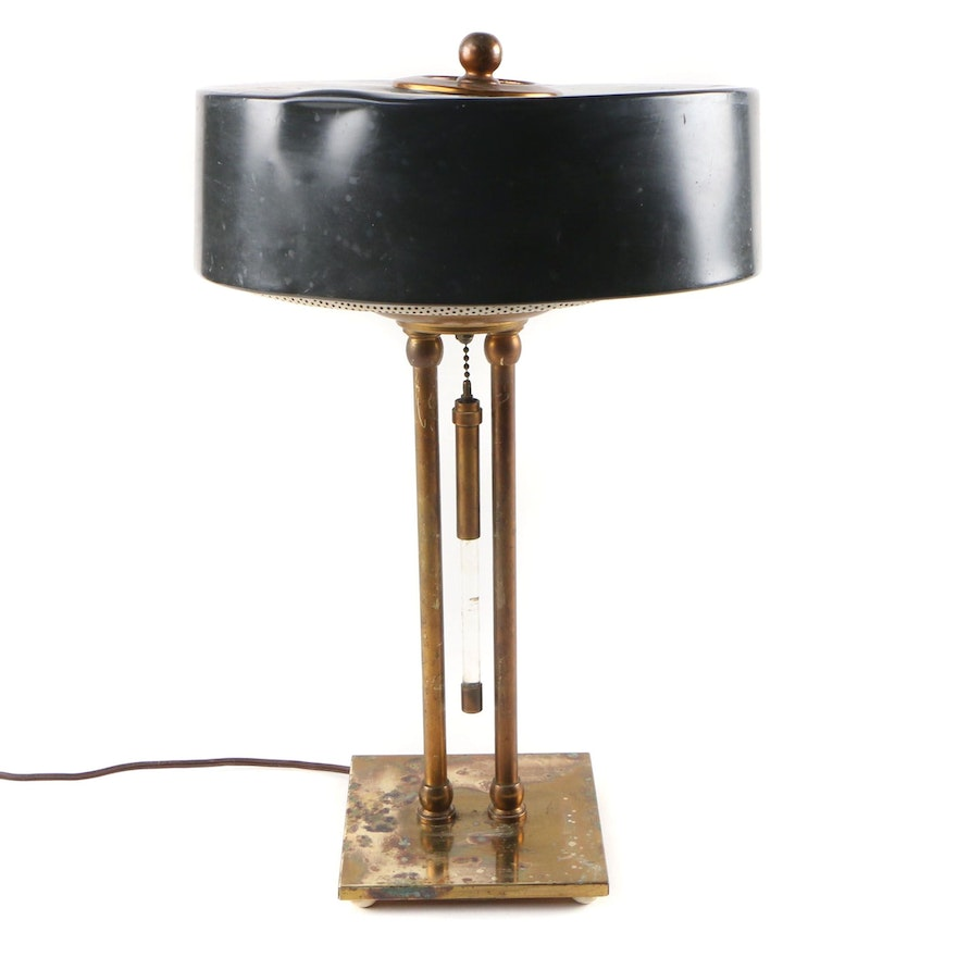 Brass and Metal Three Light Desk Lamp with Porcelain Sockets, Mid 20th Century