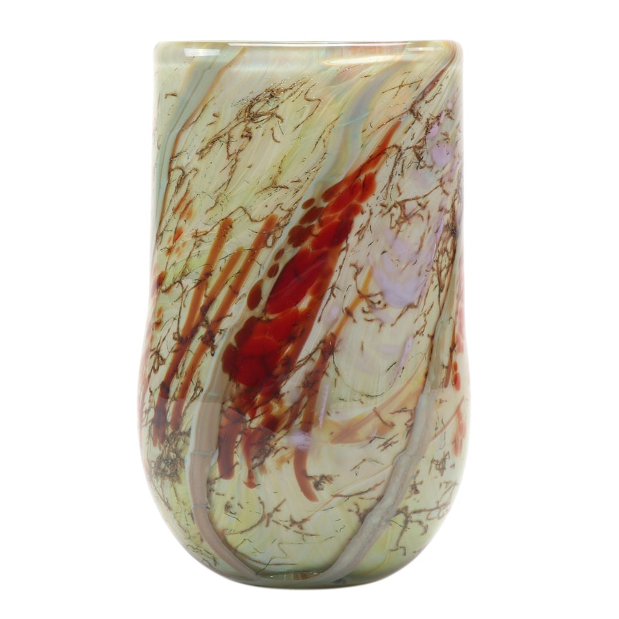 "Nick Delmatto Hand-Blown ""Silver Yellow with Red"" Art Glass Flat Vase"