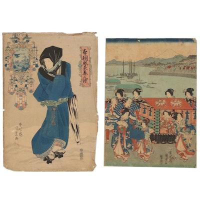 Utagawa Kunisada Ukiyo-e Woodblocks, Mid 19th Century