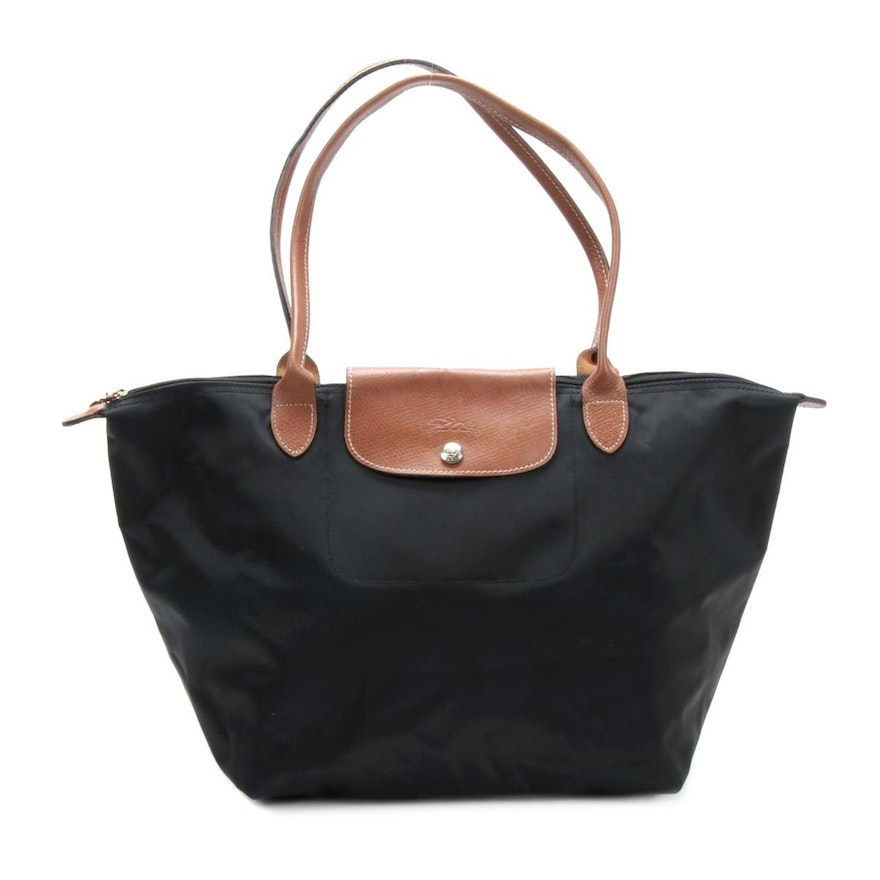 Longchamp Le Pliage Large Black Nylon and Brown Leather Tote