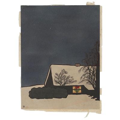 "Helen G. Dennis Mixed Media Woodcut ""Christmas Wreath"", circa 1919"
