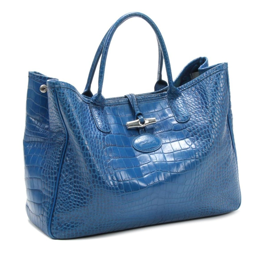 Longchamp Paris Croc-Embossed Blue Leather Roseau Toggle Tote