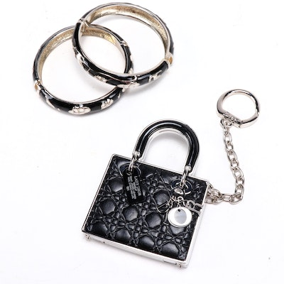Christian Dior Compact Handbag Key Chain and Enamel Floral Bracelets