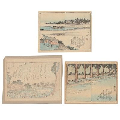 "Utagawa Hiroshige Woodblocks from ""Ehon Edo miyage"" and Ukiyo-e Woodblock"