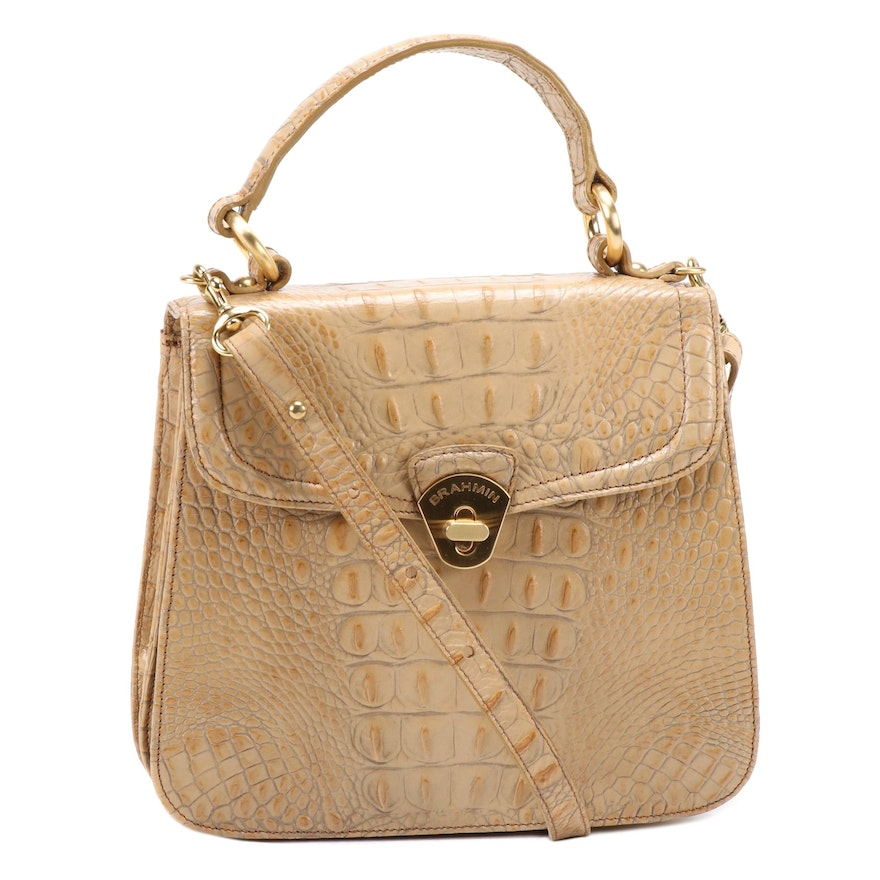 Brahmin Crocodile Embossed Leather Flap Front Convertible Bag