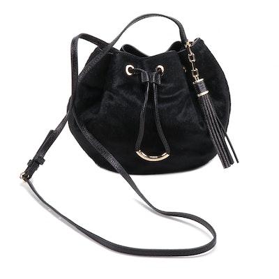 Henri Bendel Black Pony Hair and Leather Drawstring Crossbody Bag
