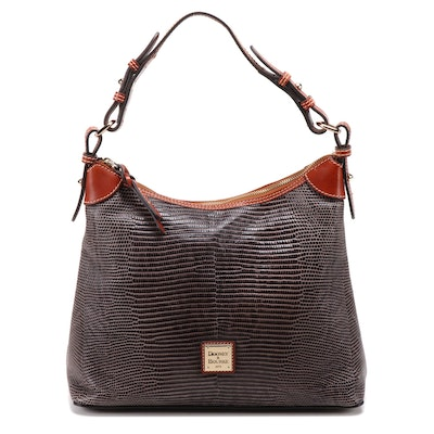 Dooney & Bourke Lizard Embossed Leather Hobo Handbag