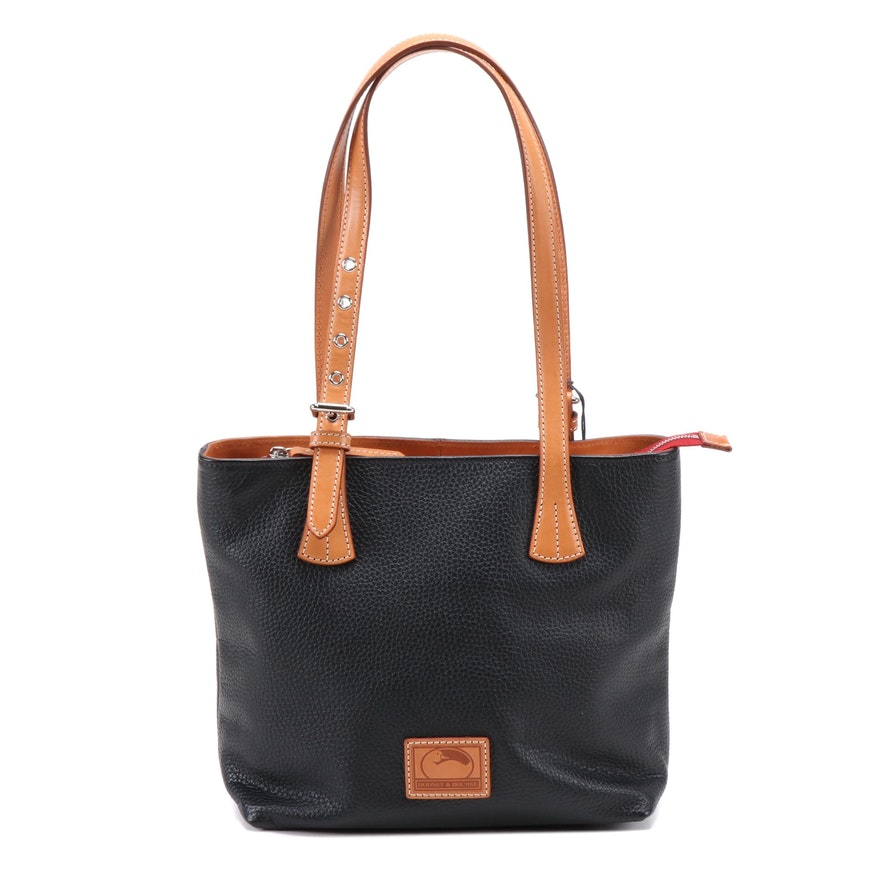 Dooney & Bourke Emily Leather Shoulder Bag in Black Pebbled and Tan Leather