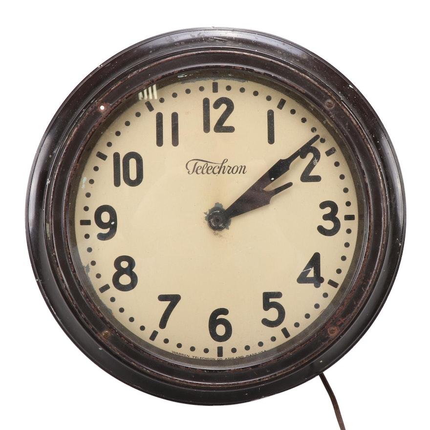 Warren Telechron Electric School Wall Clock, Mid-20th Century