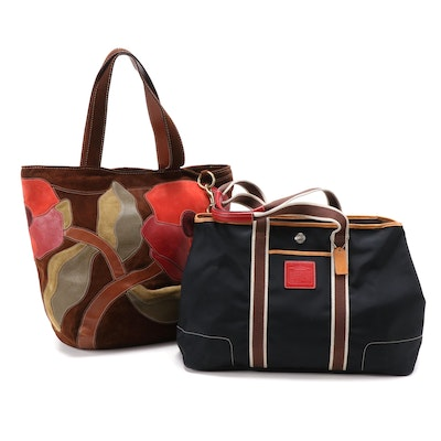 Coach Limited Edition Red Poppies Suede and Weekender Nylon Hamptons Tote