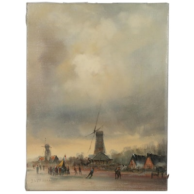 Townscape Oil Painting with Windmills, Early 20th Century