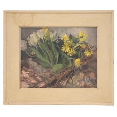 Olga Sears Floral Oil Painting, Mid 20th Century