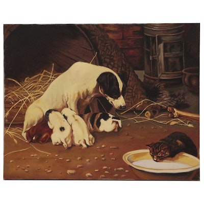 """Oil Painting after William Henry Hamilton Trood """"Family Cares"""""""