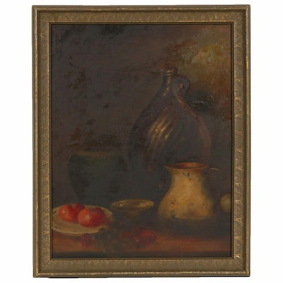 """Oil Painting after William Merritt Chase """"Still Life with Fruit and Pottery"""""""