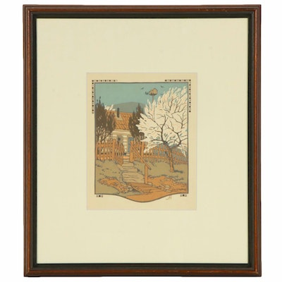 "Gustave Baumann Woodblock Print ""April"" for ""All the Year Round"", 1912"