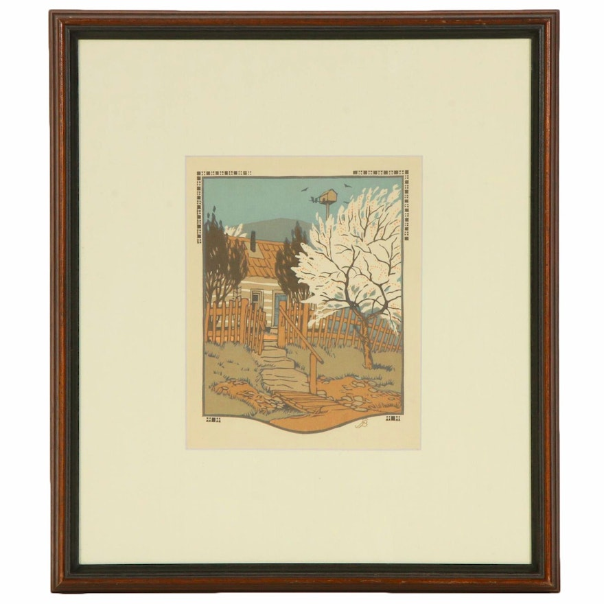 """Gustave Baumann Woodblock Print """"April"""" for """"All the Year Round"""", 1912"""