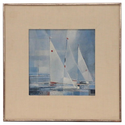 William Charles Palmer Cubist Style Oil Painting of Yachts, 1971