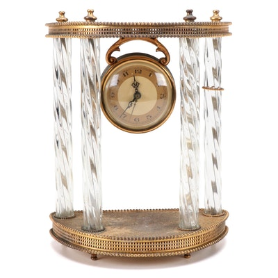 Whitehall-Hammond Brass and Glass Portico Clock