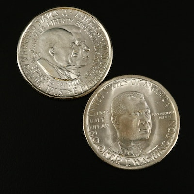 Group of Two Commemorative Silver Half Dollars Incl. 1946-S Booker T. Washington