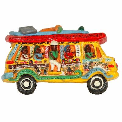 Serge Vassort Cool Haitian Folk Art Papier-Mâché Bus Sculpture, c. 1985