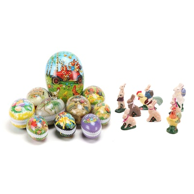 Echt Erzgebirge German Nesting Eggs and Betty's Bunnies Handmade Figurines